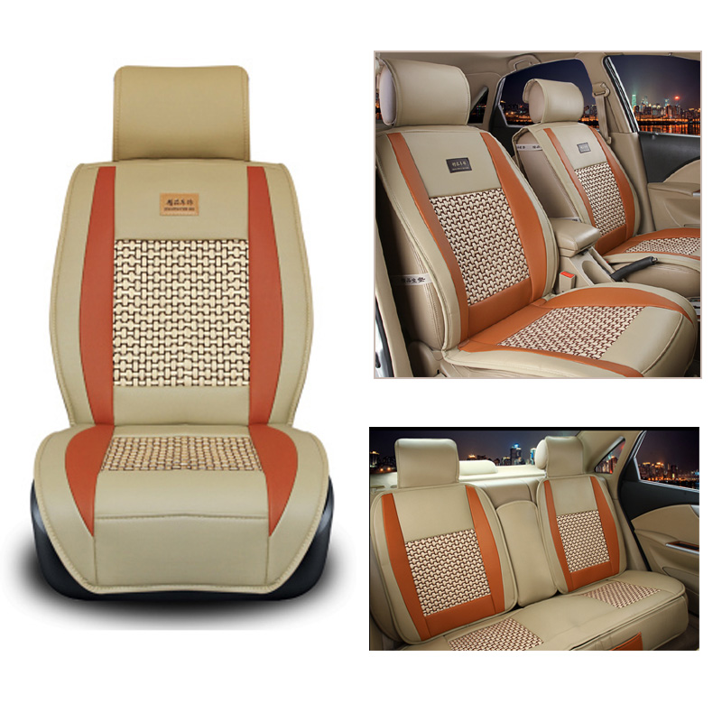 5 Seats Universal Summer Car Seat Cover PU Leather Auto Front Back Rear Cool Seat Cushion Protector Mat Keep Clean For Most Car pillowcase classic style wave pattern car comfy back cushion cover