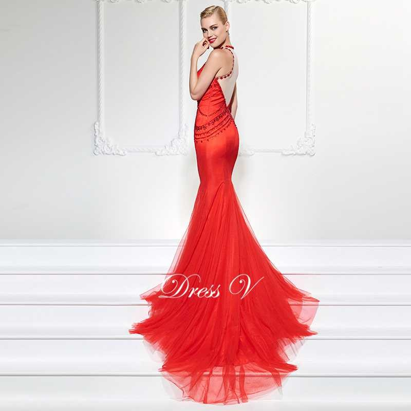 573764e975 Dressv frezowanie kryształ syrenka suknia wieczorowa długa czerwona ...