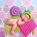 Boy girl handmade crochet do bebê recém-nascido bonito do animal fotografia props traje unisex bebê fotografia caracóis accessaries outfit