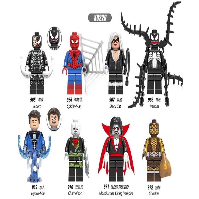 Venom Spider-Man Figura del Gatto Nero Hydro-Man Chameleon Morbius Shock Marvel Super Hero Building Blocks Set Modello giocattoli