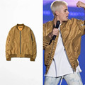2016 high street men clothes brand clothing mens jackets kanye west coat pilot flight satin ma1 bomber FOG JUSTIN BIEBER jacket