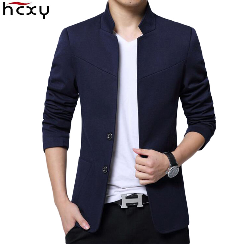 Blazer Men 2019 High Quality Suit Jacket Male Style Stand Collar Male Blazer Slim Fit Mens Blazer Black Jacket Men Size M-5XL