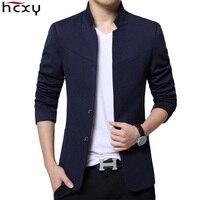 Blazer Men 2019 High Quality Suit Jacket Male Style Stand Collar Male Blazer Slim Fit Mens Blazer black Jacket Men Size M 5XL
