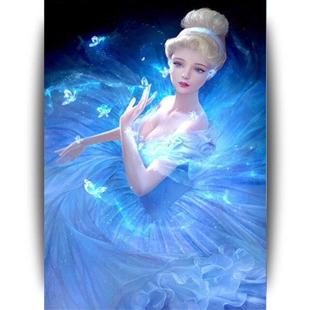Super hermosa princesa DIY 5d diamante pintura diamante bordado ...