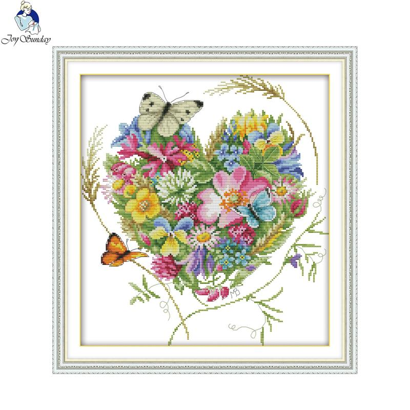 Joy sunday Butterflies love flowers Stamped Cross stitch kits DMC Needlework Embroidery DIY Handwork Fabric 14CT and 11CT