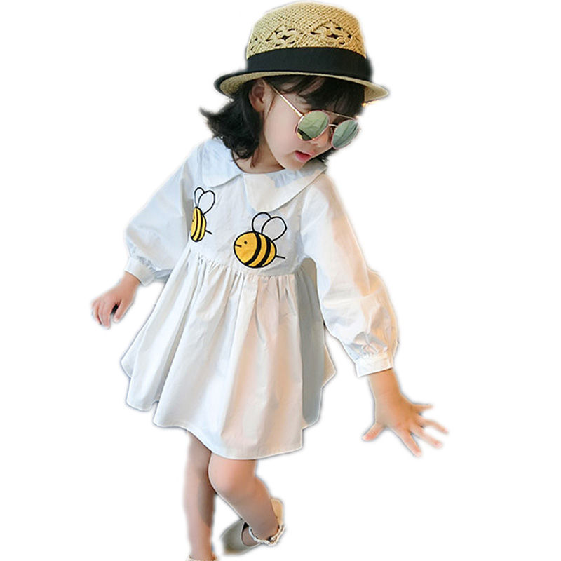 2017 new spring long sleeve girl dress cartoon embroidery bee girls princess dress solid peter pan collar kids party dress 2-7T 2 10yrs girls dress kids princess dress long sleeve baby girl cute palace style blue and white floral embroidery spring 2017 new