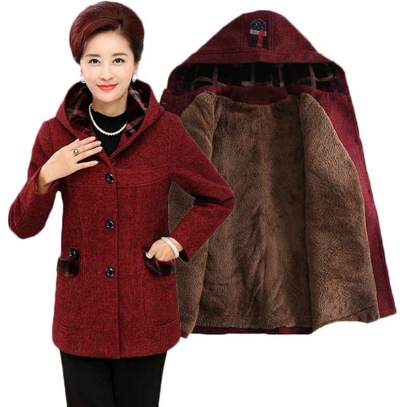XL-5XL Wool Coat Women 2019 Autumn New Arrivals Single Breasted Hooded Long Sleeved Coat Plus Size Loose Long Jacket