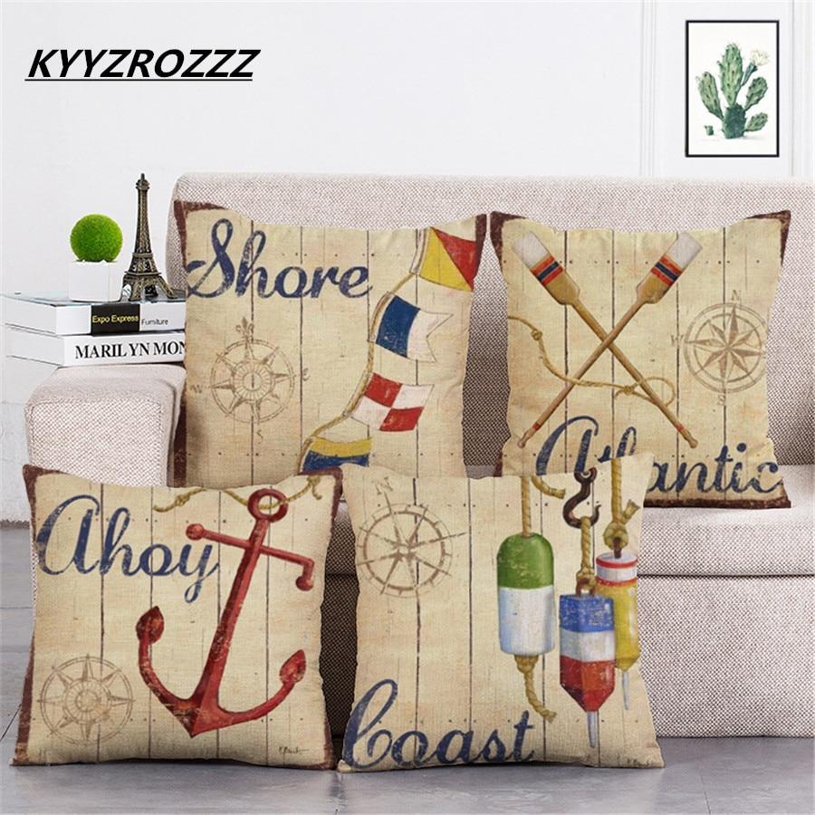 Mediterranean Sea Voyager Ship Boat Anchor Pillowcase Cushion Cover Decorative Linen Cotton Throw Pillow Case 45*45cm