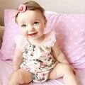 Rose Impreso Floral Mameluco Del Bebé, los Bebés de la vendimia playsuit, encaje Floral Ropa printes Bebé