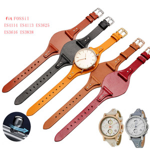 Image 2 - First layer calfskin strap for Fossil ES3616 ES3838 ES4114 womens series 18mm genuine leather watchband Quick release