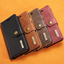 For Samsung GALAXY S7 S7 Edge Wallet Leather Case, Magnetic Detachable Genuine Leather 3 Card Slots Business phone Leather case