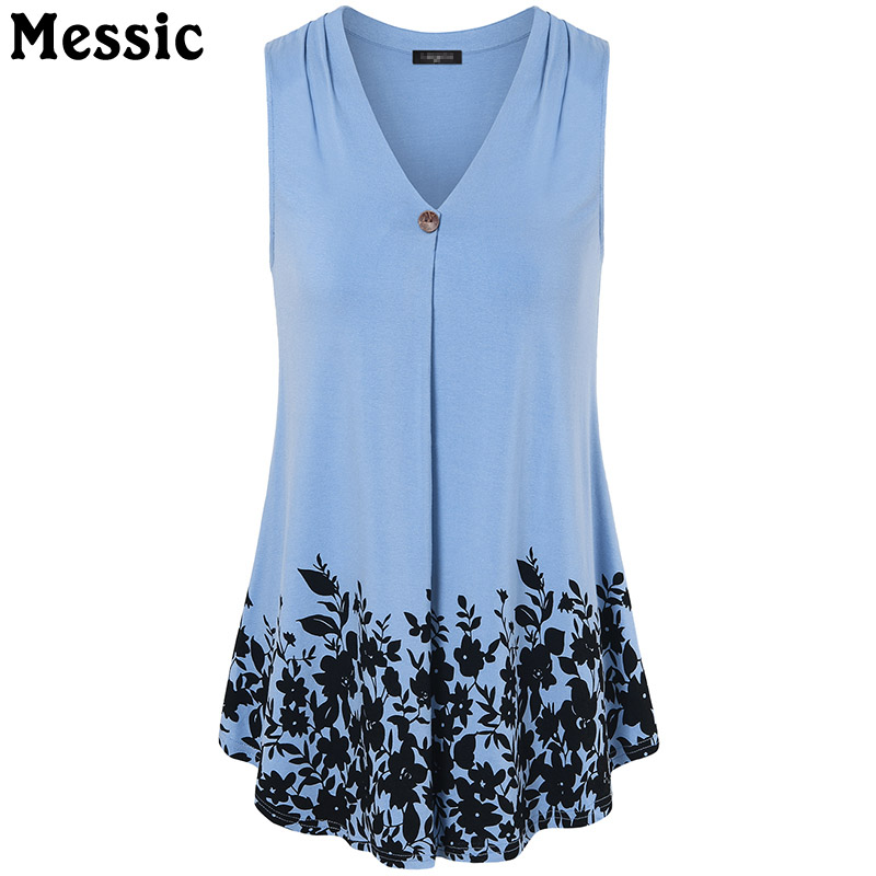 Messic Casual Tunic Floral Print Tank Top Women Ruched Long Cami Tops 2018 Summer Autumn Sleeveless V Neck Ladies Camisole
