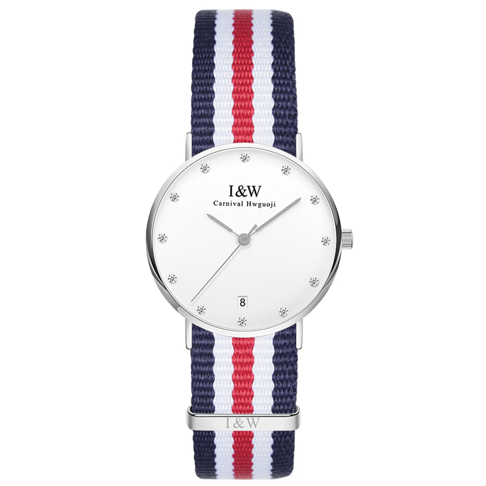 IW D8758L-3 women's Quartz-Watch fabric Classic Canterbury Stainless Steel Watch With Multi-Color Striped Band