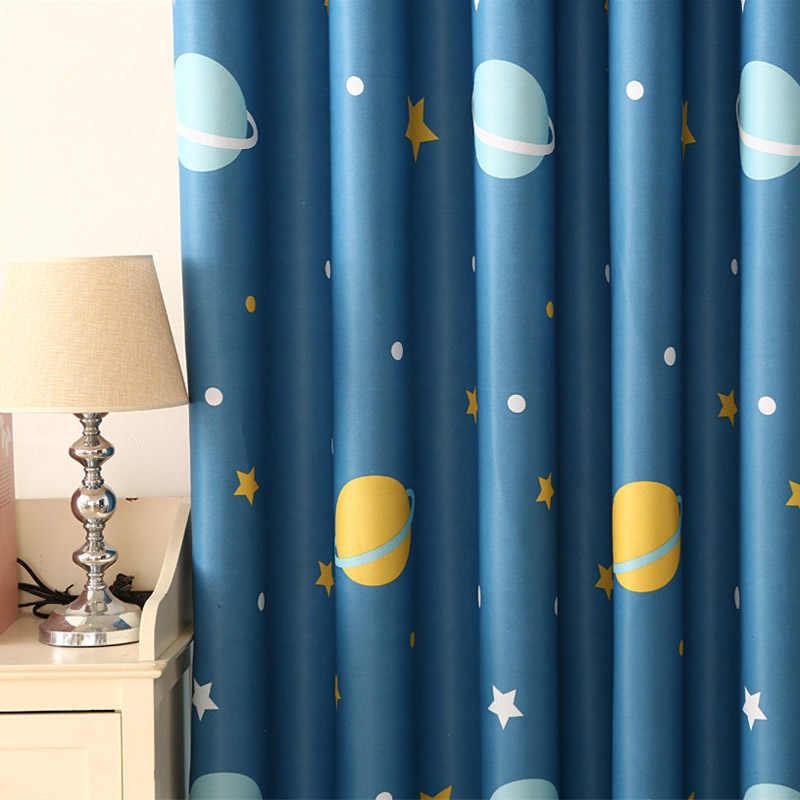 Занавеска для детской комнаты с принтом для спальни детская комната шторы для окна Синяя Прозрачная Футболка и 355 #30