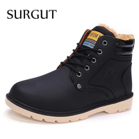 Hot Newest Keep Warm Men Winter Boots High Quality Pu Leather Casual Boots Working Men Shoes