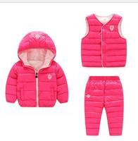 2016 Chine usine Russie hiver Parka rembourrage vestes + pantalon + manteau vêtements ensembles pour garçons ski costume, reima bébé habit de neige