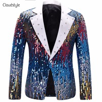 Cloudstyle 2018 sequin stage suit Jacket Men Party Suit Wears Fashion Digital Printing Autumn Spring Casual Drama costume Blazer