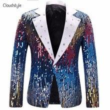 Chaqueta de traje de escenario de lentejuelas 2018 estilo Cloudstyle para  hombre traje de fiesta viste b11d0a44083