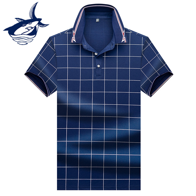 New Summer Short Sleeve Men's   Polo   Shirt European Style Tace & Shark   polo   shirt men High Quality Plaid Casual camisa   polo   shirts