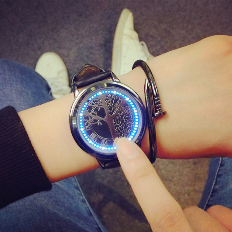 Creative Personality Minimalist Leather Normal Waterproof LED font b Watch b font Men And Women Couple