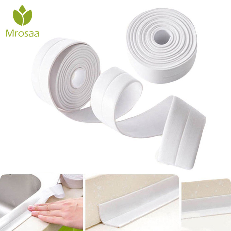 1 PC Mrosaa 3.8CM X 3.2M PVC Wall Sealing Tape White Waterproof Roll Tape Moldproof Adhesive Tape For Bathroom Kitchen Sink