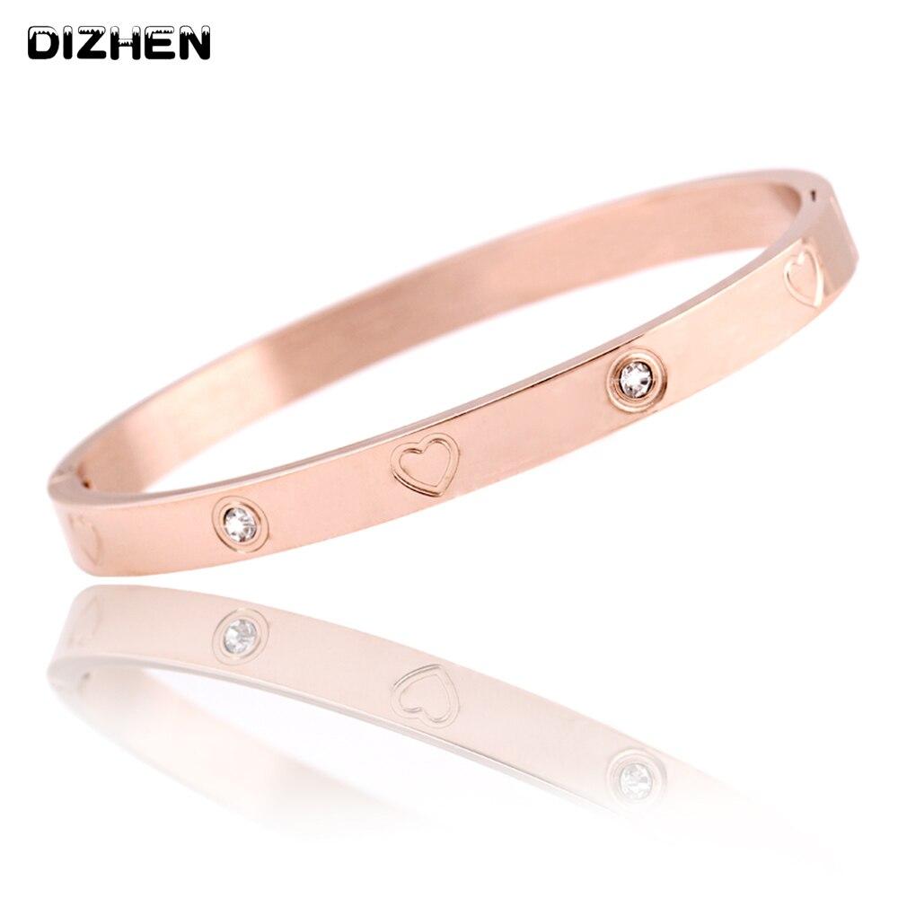 Trendy Kristall Rose Gold Silber Armband für Frauen Armreif Hören Armband Schmuck Titan Liebe Armband Armreif Pulseiras B18148