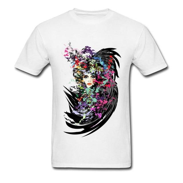 Hermoso carnaval chica impreso en camiseta hombres sexo hombres moda acuarela pintura camisetas negro camiseta para hombres Sexy pin Up