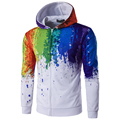 2017 New Arrival Men 3D Fashion Rainbow Hoodies Long Sleeve With Hood High Quality Male Colorful Design Sweatshirt Zipper Design