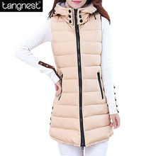 TANGNEST Winter Hooded Vest  Women 2017 New Fashion Waistcoat Plus Size Pockets Zipper Slim Long Style Candy Colors Vests WWV191