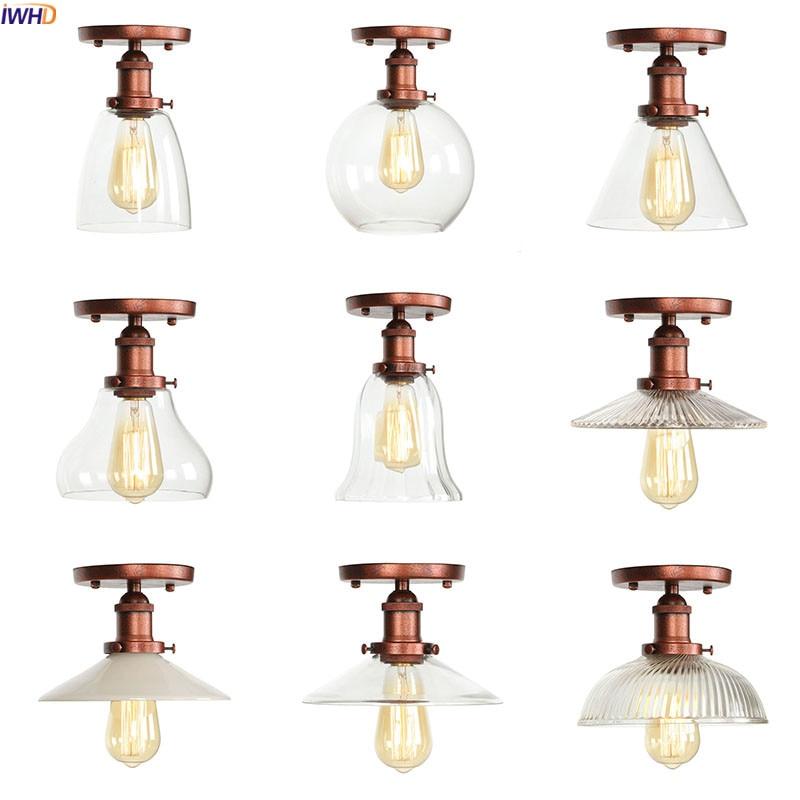 IWHD Vintage verre LED plafonniers luminaires balcon porche chambre Loft industriel plafonniers Plafonnier Lampara TechoIWHD Vintage verre LED plafonniers luminaires balcon porche chambre Loft industriel plafonniers Plafonnier Lampara Techo