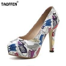 Taoffen/Размеры 32–43 женщины печати обувь высокого туфли-лодочки на каблуке Мода круглый носок женская обувь на платформе квадратный женская обувь