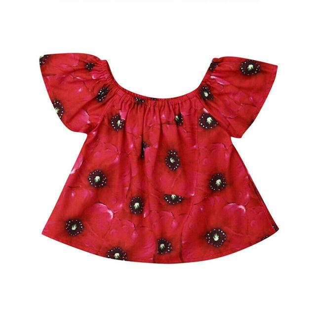 Pudcoco 2019 קיץ אדום פעוט תינוקות תינוק בנות כבויה פרחי חולצות חולצה תלבושת בגדים