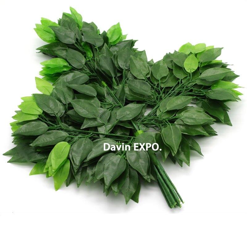 12 pcs decorativa flor de seda verde folhas artificiais folhas de - Para feriados e festas