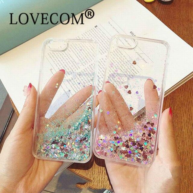 LOVECOM Love Heart Stars Glitter Stars Dynamic Liquid Quicksand Soft TPU Phone Back Cover Case For iPhone 5 5S SE 6 6S 7 Plus
