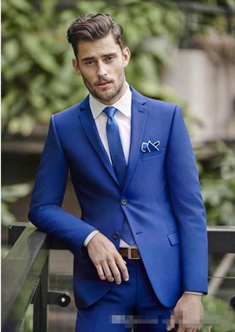 01f54f349eae 2017 Blu Matrimonio Abiti Da Uomo Slim Fit Sposo Smoking Per Gli Uomini  Groomsmen Vestito Stile Italiano giacca e Cravatta (Jacket + Pants + Tie)  in 2017 ...