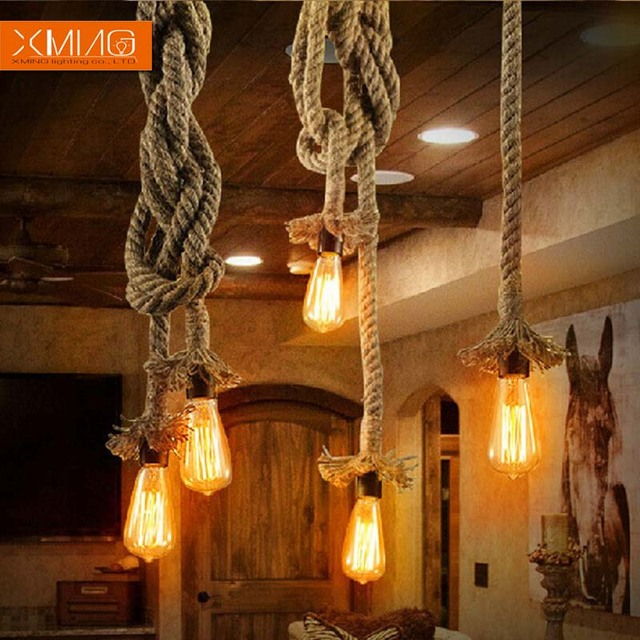 Vintage Industrial Loft Pendant Lights Fixture Hemp Rope Retro E27 Holder Wicker For Dining