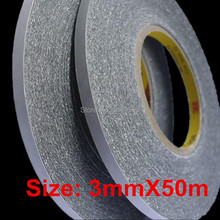 High quality 3M black double sided tape 3 mm x 50m Cellphone Touch Screen LCD Repair fix Adhesive 3M 9448 Tape free shipping цены