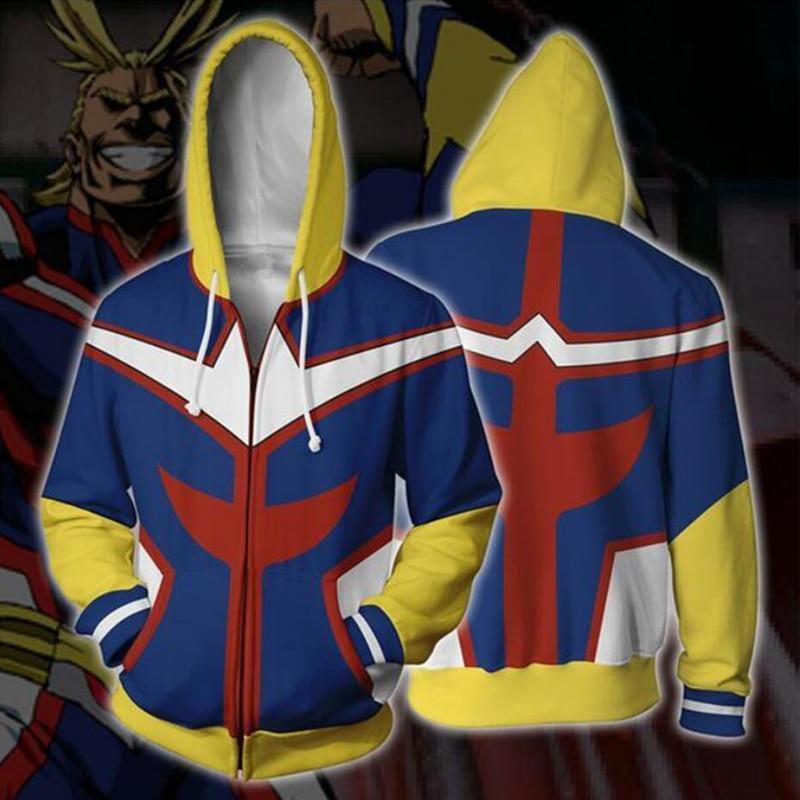 My Hero Academia Boku no Hero Academia Cosplay Costumes All Might Sweatshirt Fashion zipper Hoodie Halloween dresses Jackets