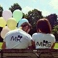 Mr Mrs Valentine Camisas Tshirts Mulheres T Camisa de Algodão de Manga Curta Camisas de T Para Casais Homens Mulheres Bonito T Básico Camisas Amor topos