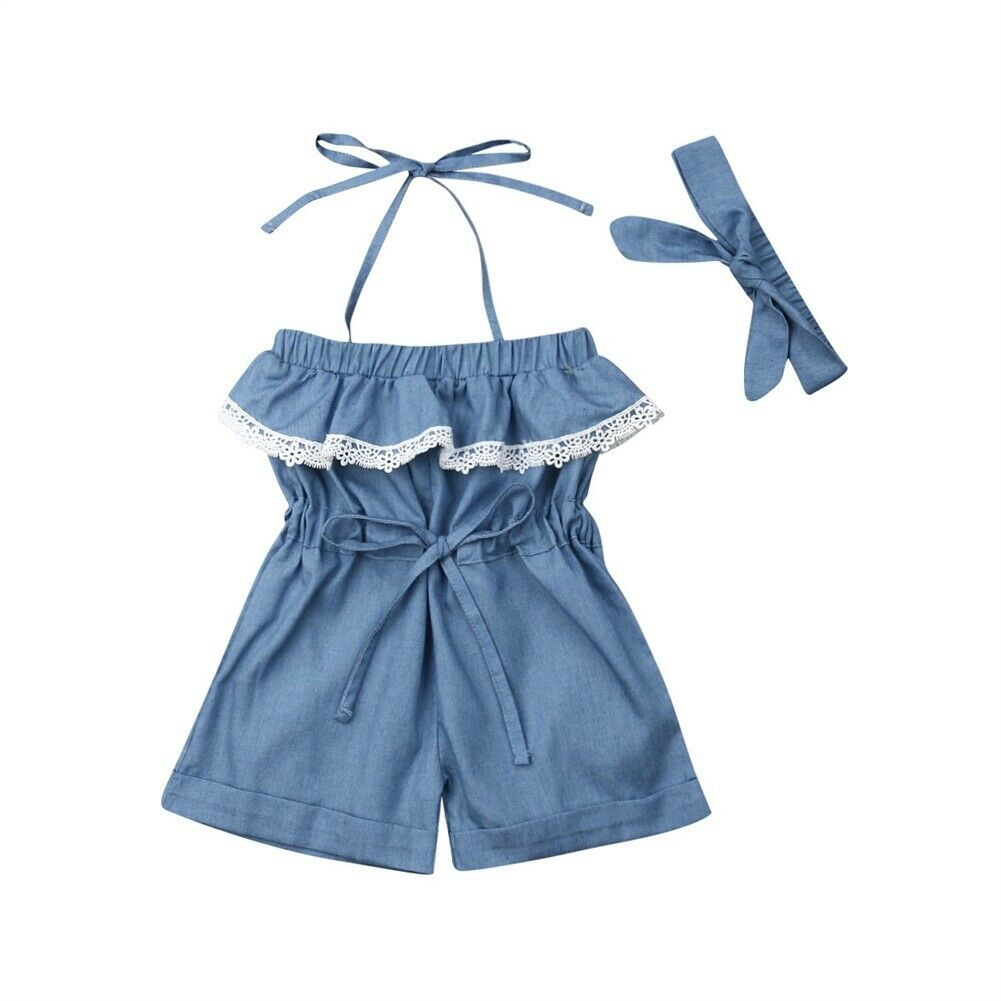 Kid Baby Girl Lace Solid   Romper   Jumpsuit Sling   Rompers   Outfit Clothes Headbands Summer Set 2PCS