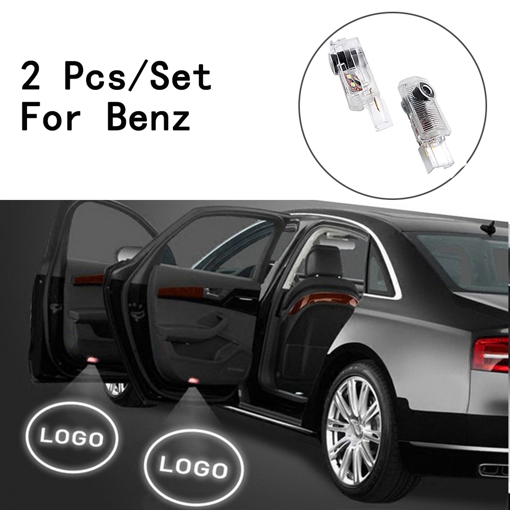 LED Courtesy With Logo Only For Benz W164/W215/AMG/ R300/R320/R400/R500/ML500 2Pcs/Set Ghost Shadow Projetor Weclome Lamp