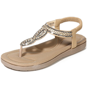 Image 3 - BEYARNEGladiator Thong Sandals 2019 Women Summer Platform Flats Faux Rhinestone Slip On Solid Creepers Casual ShoesE667