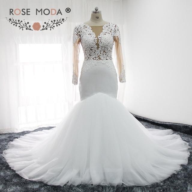 Rose Moda Long Lace Sleeves Mermaid Wedding Dress for Black Girls ...
