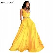SINGLE ELEMENT A-Line V Neck Bead Belt Satin Yellow Prom Dresses