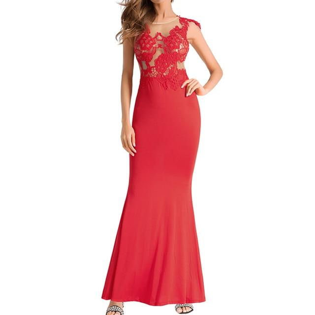 Для женщин рукавов Перспектива длинное платье пикантные Кружево шить спинки Вечеринка Макси платье элегантный Для женщин Платья для женщин Vestidos