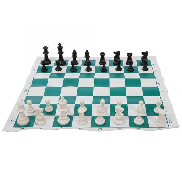 Ensemble d'échecs Portable en plastique voyage International échecs ultraléger jeu d'échecs avec grand sac en toile jeux d'échecs sac d'échecs 2