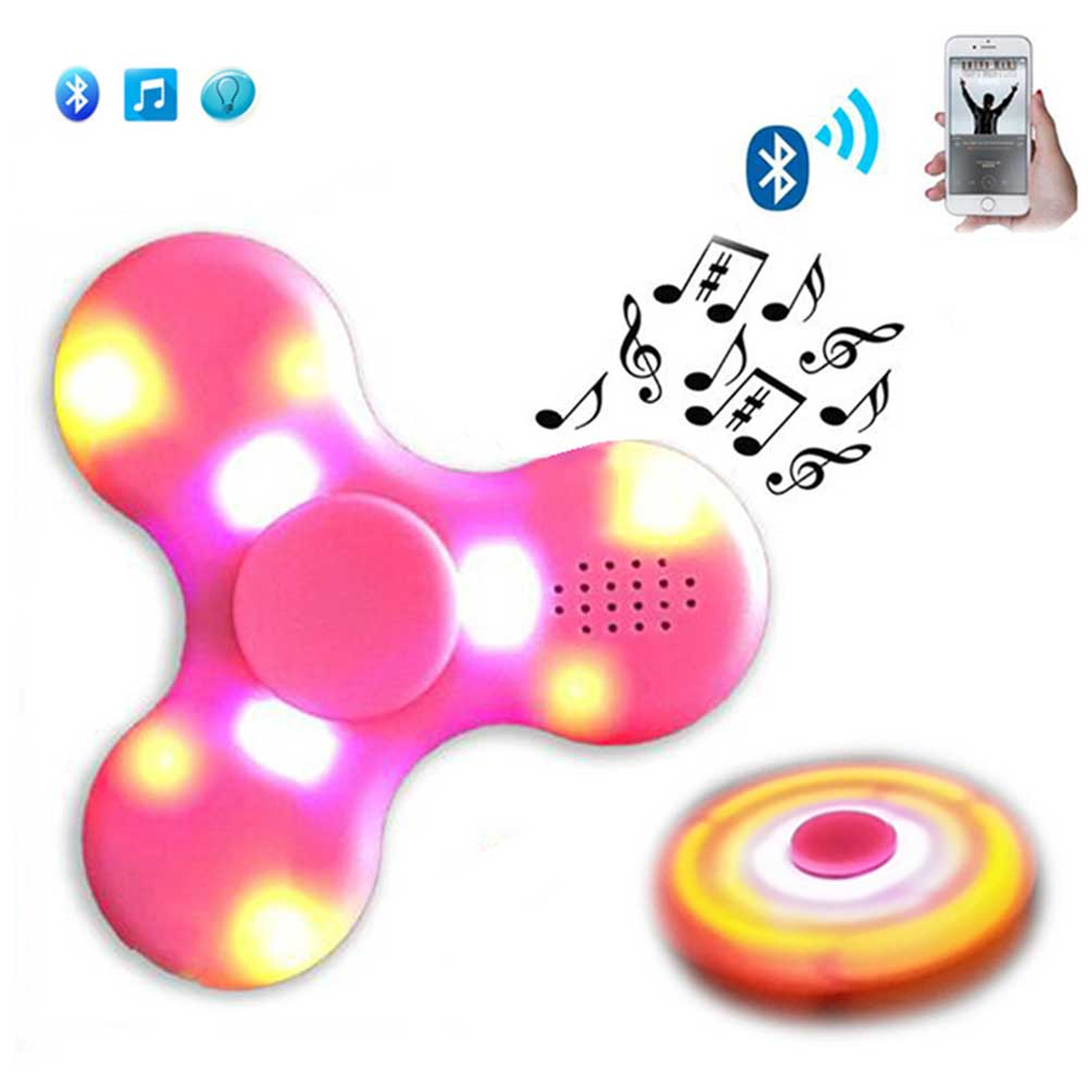 Hot Selli Fashion Bluetooth Speaker Hand Spinner LED Light ABS Rechargeable Relieve Stress Hand Finger Music Gyro Fingertip Toys