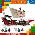680 шт. Бела 9762 Ниндзя Destinys Bounty Дракон Лодка Модель Строительные Блоки Кирпич Детей Игрушки Совместимо С Lego