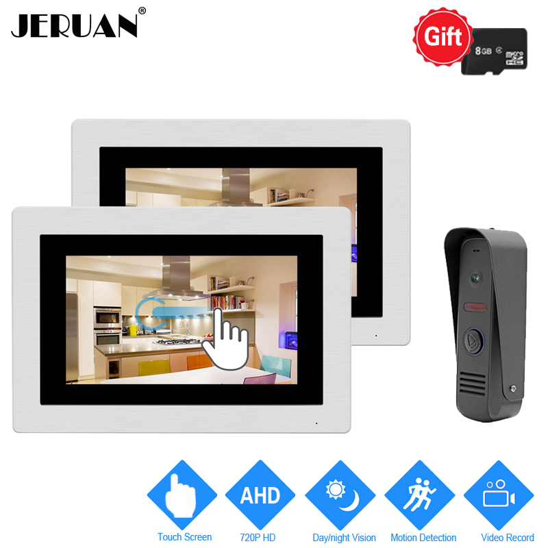JERUAN 720P Motion Detection 7`` Touch Screen Color Video Door Phone Intercom System 2 Record Monitor +Waterproof Mini Camera jeruan home 7 video door phone intercom system kit rfid waterproof touch key password keypad camera remote control in stock