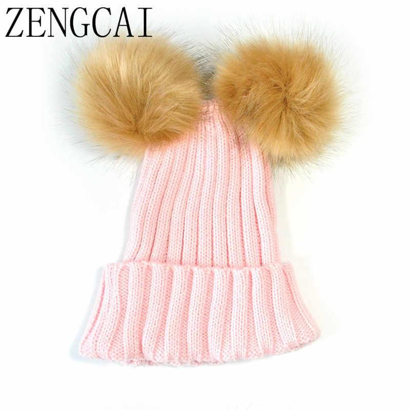 ... Kids Two Faux Fur Pom Pom Hat Women Winter Woolen Beanie Cap Girls Boys  Cute Knitted ... da0e68cf00